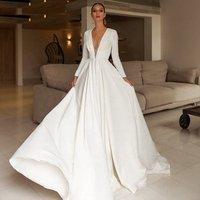 Elegant Lady Puffy Pleating White Deep V-Neck Satin Long Sleeve A Line Wedding Dress