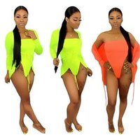 Summer Beach Neon Bikini With Cover Up  Two Pice Outfits Woman Swimwear S3548