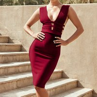 2019 Wholesale sexy Deep V backless bandage dress women elegant dinner party wear ladies knitted pencil bodycon dress for women