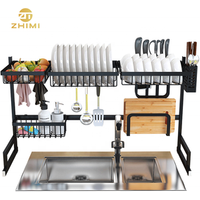 Amazon Hot Sale Kitchen 2 Tier Over The Sink 201 Stainless Steel Dish Drainer Rack
