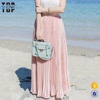 Latest long skirt design 2020 women pink maxi pleated skirts wholesale