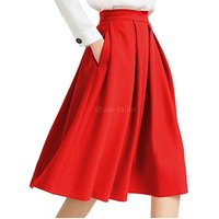Apparel manufacturer womens clothing high waist pleated midi flared skirt with pocket