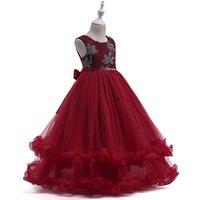 Elegant Floral Girls Cotton Frock Design Ruffled Crystal Belt Girls Evening Prom Gown Dress LP-76