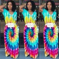Summer evening wear colorful women long tie dye maxi dress