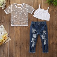 2019 New Fashion Toddler Kids Girls Short Sleeve Star  T-shirt Tops Hole Denim pants pearl Jeans 2PCS Clothing Set