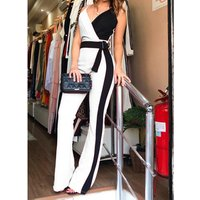 Wholesale women fashion formal elegant evening contrast color jumpsuits with belt
