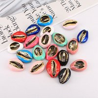 JF8704 Popular Colorful Cowry Charm Bracelet Jewelry Supplies  Gold Plated Multicolor Enameled Natural Cowrie Shell Charms