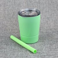 8.5oz Kids Stainless Steel Cup Tumbler, Double Wall Vacuum Insulated 8.5oz cup with Lid and Silicone Straw