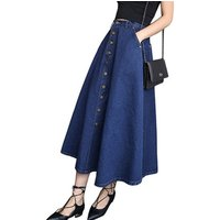 Manufacturers direct 2019 new single-breasted denim skirt  long high-waisted show thin female dress