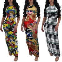 M1030 women sexy halter backless printed long maxi pencil dress pattern
