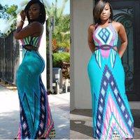 New Fashion Women High Waist Big Swing Dashiki African Wrap Dress National Printed Dashiki Wrap Around Skirt Maxi Dress