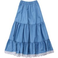Boutique Hot Sale Kid A-line skirts Elastic Waist Skirt Lace Denim Long Skirts For Girl