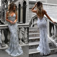 Spaghetti Straps Mermaid Evening Dresses Elegant Lace Appliques Prom Party Dresses Formal Dresses