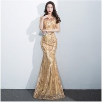 2019 wholesale instock high quality  mid sleeve gold mermaid sequin women evening dress with gold belt A2476