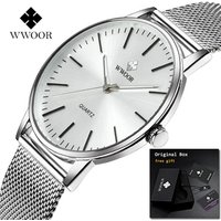 WWOOR 8832 Men Fashion  Quartz Watches  New Luxury Simple Analog Stainless Steel Wristwatch