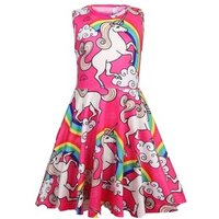 Girls Unicorn Dress Baby Rainbow Sleeveless children Dresses  For Girls Pink Party  Princess Dress