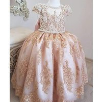 ZH4206G Luxurious Pearls Lace Flower Girl Dresses Short Sleeves Little Girl Wedding Guest Dresses Vintage Pageant Party Gown