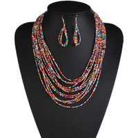 Bohemian necklace and earring sets seed bead jewelry set