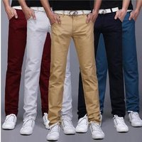 Mens Korean Slim Fit Casual Pants Cotton Stretch Long  Chinos Trousers Summer Pants online shopping apparel