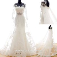 real photo Elegant Appliques Mermaid O-neck Long sleeve Floor-length Modest Bridal Gown Lace Wedding Dresses WD1929