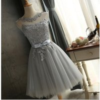 2019 Top Quality Elegant Bridesmaid dresses Sleeveless Lace Short Ropa  Evening Dresses  Party Dresses Women Clothes