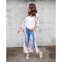 2019 Women Chiffon Kimono Cardigan Floral Printed Long Sleeve Blouse Summer Beach Cover Up Long Tops Loose Ladies Shirts