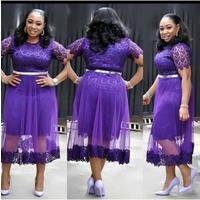women  A-line  fashion lace wiht net A-line round neck short hand chic dress lace gown