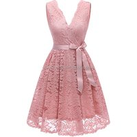 2018 China Wholesale Cheap Womens Floral Lace Short Bridesmaid Dress with Sash