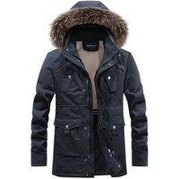 men wool fleece parka, men cashmere winter coat, winter men hooded cotton jacket