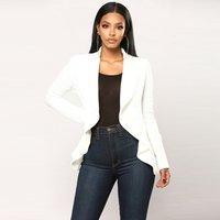 2018 Fashion Women Winter Office White Blazers Cardigan Ruffle Coats