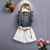 New design summer baby girl clothes boutique floral sleeveless t-shirt shorts suit belt girl clothes china set 2018 summer