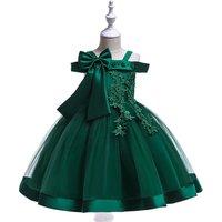 2019 Kids Off Shoulder Lace Half Sleeve Ball Gown Flower Girls Dress