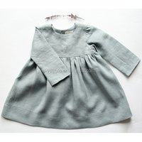 Baby girls gray linen dress with long sleeves for autumn , round neck over knee baptism dress made with pre washed linen