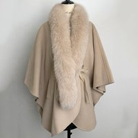 Elegant beige cape women winter jacket boutique handmade 10% cashmere fur coat wool poncho with fox fur collar leather belt