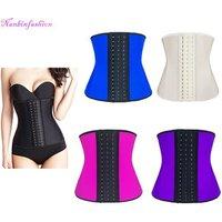 Five colors 9 steel bones 3 layers latex waist trainer shaper corset