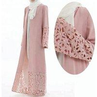 2019 high quality Islamic Women Open Abaya Pearl Kimono Cardigan