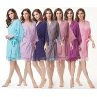 OEM floral lace trim cotton Bridesmaid robe