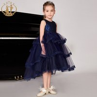 Nimble Wholesale Navy Blue Sleeveless Beading Princess Layered Girl Party Dress Sequin Prom Gowns Evening Girl Dress