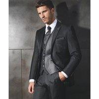 2019 New Style Black Tuxedo Peaked Lapel Three Pockets 3 Piece Men Suit Slim Fit WF021