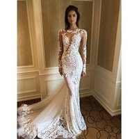 Sexy See Through Long Sleeve Wedding Dress Mermaid Lace Floral Trumpet Bridal Gowns