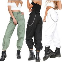 Autumn Women High Waist Cotton Harem Pants Army Military Chain Pocket Cargo Trousers Punk Stage Pants with Chain E51111 50% off