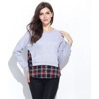 Ladies Knitwear Sweater Patchwork Loose Pullovers Coat