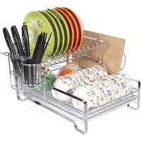 Multifunctional metal drainer stainless steel drying kitchen bowl plate with tray dish storage rack