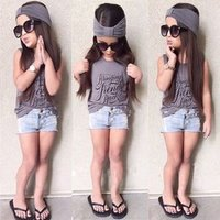 'Kids Clothing Sets Designs Cotton Girl Tops Vest And Denim Shorts And Head Scarf