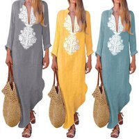 Womens Cotton Linen Maxi Dress Long Sleeve Casual Boho Kaftan Tunic Gypsy Ethnic Dress
