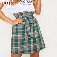 OOTN 2020 Fashion Ladies Button summer Women Mini Skirts Belted High Waist Office Short Skirt  Vintage Green Plaid Pencil Skirt
