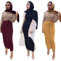Cotton Skirts Faldas Mujer Moda 2019 UAE Abaya Dubai Kaftan Long Muslim Skirt Dress Women Musulman Arab Turkish Islamic Clothing