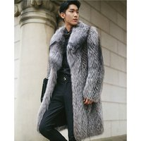 Mens warm clothing faux fur long coat XXXXXL cotton-padded fox feather knee length outdoor wear jacket for men Northern people
