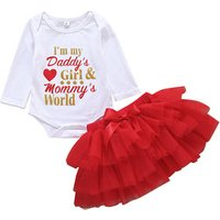 Baby Girl Clothes Outfits Infant Clothing Sets Romper + Red Tutu Skirt Newborn Baby Suits Clothes Set