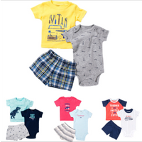 Summer Baby Boys Girls Clothes Set Causal Baby Short Sleeve T-Shirt Printed Rompers And Short Pants Clothing Sets Ropa De Bebes